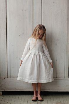 WHITE MAGNOLIA Smock Dress for Girls, long sleeves