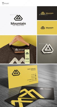 Mountain Logo by Tenuart Logo Template Features A great and simple logo CMYK Editable and resizable vector files Editable text and color Included AI, PSD a Logo Design Template, Logo Templates, Brand Identity Design, Branding Design, Logo Shapes, Bussines Ideas, Clothing Logo, Typography Logo, Print Fonts