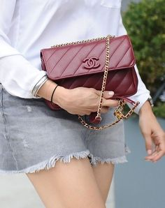 An oxblood Chanel purse