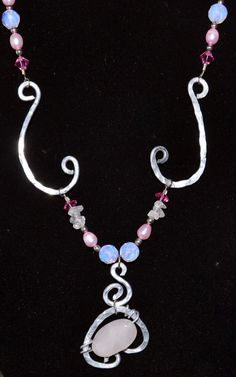 Hand formed and hammered Aluminum wire rose quartz by Eleksmom, $17.00