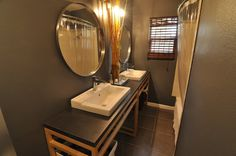 Beautiful remodeled double sink with Pfister Vega lavatory faucet in polished chrome