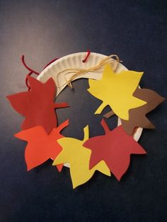 First Fall storytime craft-have students write elements of a story on each leaf to create a story element fall wreath.
