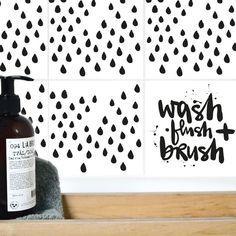 Fliesen & Kacheln - Fliesenaufkleber raindrops - ein Designerstück von Formart-Zeit-fuer-schoenes bei DaWanda