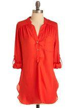 Pam Breeze-ly Tunic in Tomato   Mod Retro Vintage Short Sleeve Shirts   ModCloth.com
