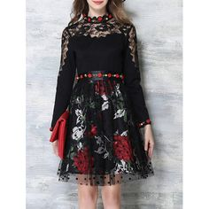 Flower Embroidered Long Sleeves Lace Spliced Dress