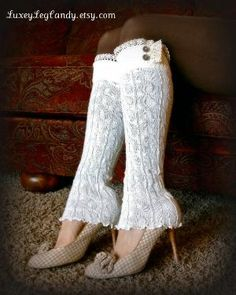 Lace and Button Leg Warmers / Boot Socks In Off White. Perfect with boots, heels or flats Style Me, Cool Style, Thigh High Socks, Nylons, Boot Socks, Leg Warmers, Passion For Fashion, Crochet, Vintage Outfits