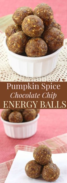Pumpkin spice chocolate chip energy balls have your favorite fall flavors with little bursts of chocolate, all in healthy no-bake snacks. The recipe's here! Kale Chip Recipes, Pumpkin Recipes, Fall Recipes, Snack Recipes, Pumpkin Foods, Meatless Recipes, Breakfast Recipes, Healthy Vegan Snacks, Protein Snacks