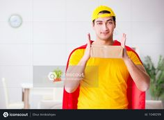 Superhero Delivery Guy With Box Photo Delivery Man, Pizza Delivery, Superhero Man, Delivery Photos, Model Release, Guys, Box, Snare Drum, Pizza Home Delivery