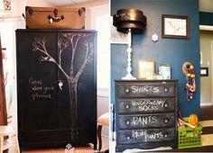 chalkboard in kid's room...ESP the chalkboard dresser drawers!'