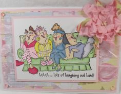 LOL!. LOTS OF LAUGHINGSells for 5.99. Women sold separately.  Made by: Art Impressions rubber stamps. You can purchase all items in my ebay store: Pat's Rubber Stamps & Scrapbooks, Click on the picture & see the listing , or call me 423-357-4334 with order, We take PayPal. You get FREE SHIPPING ON PHONE ORDERS of $30.00 or more. If it says sold I have more. Use my search engine to find the items you are interested in
