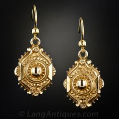 Light and lovely original Victorian ear drops from England, superbly crafted and sweetly ornamented in gleaming 9K yellow gold