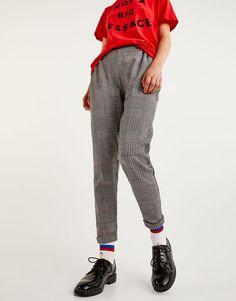 Pantalon tailoring carreaux - Pantalons - Vêtements - Femme - PULL&BEAR France