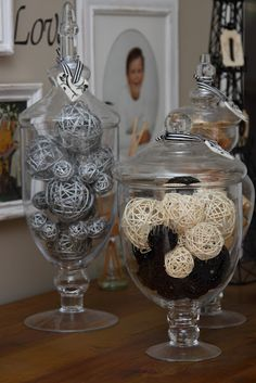 I am in love with the apothecary jar decor and wine decanters.