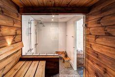 Nice private sauna and bathroom Painted Brick Walls, Old Brick Wall, Sauna Design, Loft Design, Brick Bathroom, Outdoor Sauna, Spa Rooms, Loft House, Old Buildings