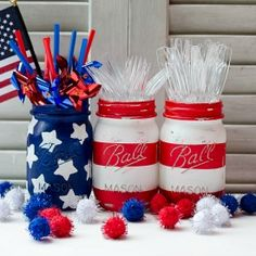 The good old stars and stripes never looked better than decorating these Red, White, and Blue Mason Jars. This DIY Mason jar craft really pops as a centerpiece. Those bright, bold American colors look good on classic Mason jars. Patriotic Party, Patriotic Crafts, July Crafts, Holiday Crafts, Holiday Fun, Kid Crafts, Decor Crafts, Patriotic Wreath, Summer Crafts