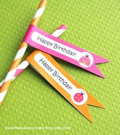 Items similar to Ladybug Flag Toppers for Paper Straws, Cupcakes, Cake Pops - DIY PRINTABLE - Pink and Orange Ladybug Happy Birthday Collection on Etsy Paper Straws, Cake Pops, Ladybug, Happy Birthday, Flag, Printables, Orange, Deco, Handmade Gifts