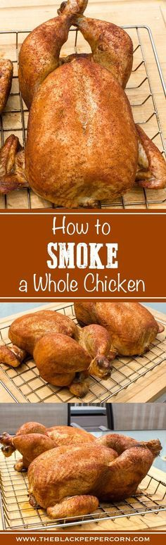 How to Smoke a Whole Chicken - Step by step instructions for smoking a whole chicken with final internal temperature of Great for electric smokers, pellet, grill and more. Bradley, traeger, Mast(Whole Chicken) Traeger Recipes, Smoked Meat Recipes, Grilling Recipes, Grilling Tips, Rib Recipes, Oven Recipes, Soup Recipes, Recipies, Smoked Whole Chicken