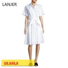 LANJER Women Cotton Dresses Elegant Summer Office Shirt Dress Casual Lady Gothic Womens Clothing Plus Size Vestidos Vintage
