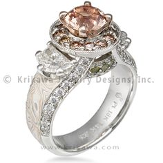 Juicy Goddess Engagement Ring -    Think of this luxury engagement ring as a temple for your inner goddess. This unique design has a halo of diamonds around the prong-set center stone, two side stones (half moons pictured), and pave set diamonds on the finger hole profile. The band is inlaid with mokume gane and tapers towards the palm side.     Please note: the side stones are not included in the price of the mounting.