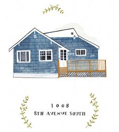 Custom house portrait by Rebekka Seale Illustration! Oh I want for our first home!! Maybe make stamps! Or return address stickers! How adorable!