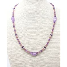 Amethyst and Seed Bead Necklace, Purple Layering Necklace, Delicate Beaded Necklace with Lavender Amethyst, Healing Gemstone ($22) found on Polyvore featuring women's fashion, jewelry, necklaces, amethyst necklace, layered beaded necklace, chunky necklaces, purple chunky necklace and gem necklaces