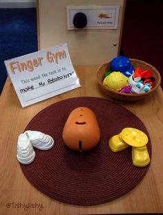 Mr Potato Head Finger Gym challenge - nice invitation to play Eyfs Activities, Nursery Activities, Motor Skills Activities, Gross Motor Skills, Dyslexia Activities, Fine Motor Skills Development, Physical Development, Language Development, Child Development