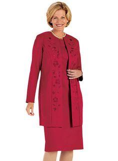 Embroidered Jacket Dress at www.amerimark.com