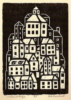 Woodcut. This is quite a primitive looking piece of work, reminiscent of German Expressionism. The composition is appealing to me.