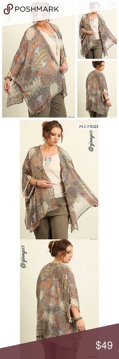 Boho Chic! Plus Size Tribal Print Pom-Pom Kimono Boho Chic! Plus Size Tribal Print Kimono with pom-pom hem at Sleeves. Material 55% Cotton 45% Polyester. *See Attached Size Chart* ACCORDING TO MEASUREMENTS PROVIDED BY VENDOR  XL is 1X. This Designer makes XL (1X), 1XL (2X) & 2XL (3X). 1X Tag says XL; but measurements and true sizing breakdown are 1X, 2X & 3X. Model wearing a 1X. Boutique Sweaters Cardigans