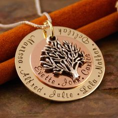 Personalized Jewlery - Hand Stamped Mommy - Grandma Necklace - Ultimate Big Family tree pendant (with Sterling chain). $55.00, via Etsy.