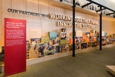 The Gates Visitor Center features brand engaging storytelling and displays to inspire corporate and personal philanthropy. Museum Exhibition Design, Exhibition Display, Design Museum, Exhibition Space, Environmental Graphic Design, Environmental Graphics, Display Design, Wall Design, Store Design