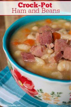 Soup Beans, Ham And Bean Soup, Ham Soup, Crock Pot Soup, Ham Recipes, Crockpot Recipes, Soup Recipes, Cooking Recipes, Soups