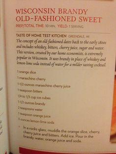 Taste of Home: WI Brandy Old Fashion Sweet