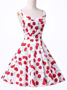Ericdress Cherry Printed Casual Dress  3
