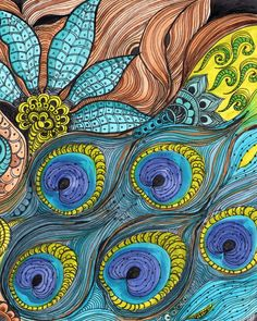 PEACOCK Fine Art Print-turquoise blue lime green ink and acrylic painting on Etsy Zen Doodle, Doodle Art, Peacock Art, Zentangle Patterns, Zentangles, Art Forms, Art Drawings, Art Projects, Fine Art Prints