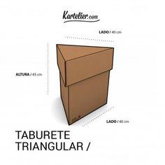Kartelier | Muebles de cartón - taburete triangular en cartón