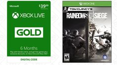 Six Months Xbox Live Gold + Rainbow Six Siege, $40  I would normally never recommend buying six months of Xbox Live Gold for $40; not when you can get a year for $60, and frequently less. But Amzon's including a digital copy of Rainbow Six Siege right now, which sells for about $30 on its...-http://trb.zone/buy-six-months-of-xbox-live-gold-get-rainbow-six-siege-for-free.html