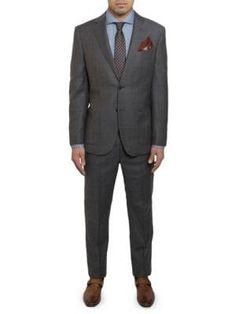 Michael Bastian Slim-fit Windowpane Plaid Wool Suit In Grey Michael Bastian, Wool Suit, Mens Suits, Suit Jacket, Plaid, Mens Fashion, Grey, Long Sleeve, Fitness