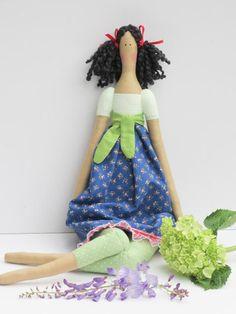 Fabric doll handmade stuffed doll green polka dot blue brunette cloth doll rag…