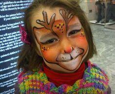Reindeer Christmas face paint idea.