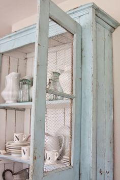 Certain pieces help define a style Chicken wire does that for a farmhouse styled room. Use it in wall art, lighting, seasonal wreaths, and so much more. One farmhouse décor idea trending on Pinterest is chicken wire cabinets