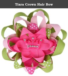 Tiara Crown Hair Bow. Fit for a little princess, our BOUTIQUE BOWS would look perfect with a DIY princess costume. These girls hair bows feature 4 layers of looped grosgrain ribbon in pink, green and pink and green polka dot with a rhinestone encrusted pink crown center. No need for DIY hair bows when you can get this hair bow for girls as a finished product complete with an attached clip for easy accessorizing. Our tiara crown hair bow will look great with girls tutus and matching tutu…
