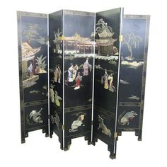 Mid Century Asian Lacquered Jade & Soapstone Inlay Screen Room Divider
