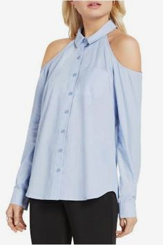 38d5292ea08 Bcbgeneration Women s Cold Shoulder Chambray Top - Blue Combo - M