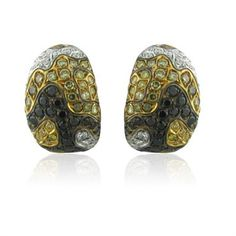 New Roberto Coin 18K Gold Multi Color Diamond Camouflage Earrings