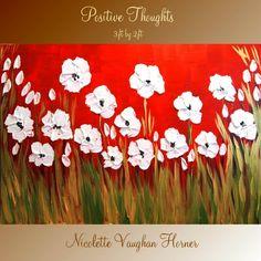 Original Impasto White Poppy Flowers Landscape Painting Modern Palette Knife Oil Painting -Nicolette Vaughan Horner. $225.00, via Etsy.