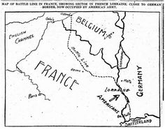 """A historical map of a battle line from World War I from """"Gencaching' Challenge: Find Historical Maps in Old Newspapers."""" Read the full article at the GenealogyBank blog: http://blog.genealogybank.com/gencaching-challenge-find-historical-maps-in-old-newspapers.html"""