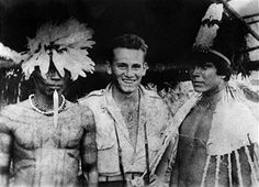A picture received on July 15, 1952 shows French explorer Raymond Maufrais, missing in in the French Guiana's rain forest on January 1950, posing with Mato Grosso indians.