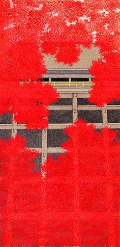 木版画 加藤晃秀「紅葉舞台」