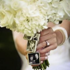 In-memory-of photos on the bouquet. This is a fantastic idea as well! I adore all the different ways of honoring the loved ones that have passed at your wedding <3